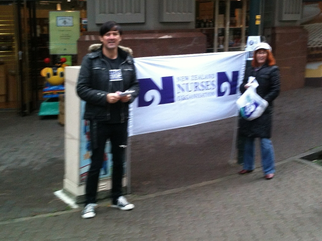 NZNO street stall against the TPPA, May 2013