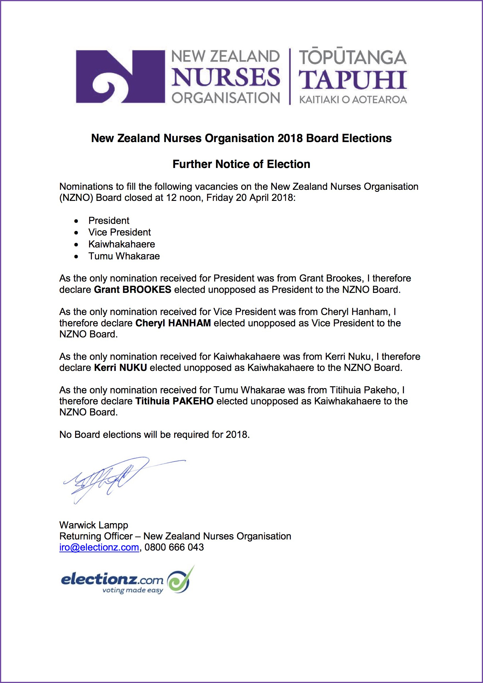 2018-04-20 NZNO nominations and elected unopposed Further Notice of Election 2018